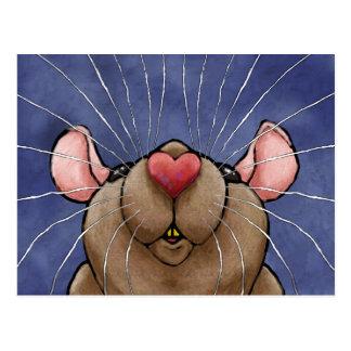 Niedliche Herz-Ratten-Postkarte Postkarten