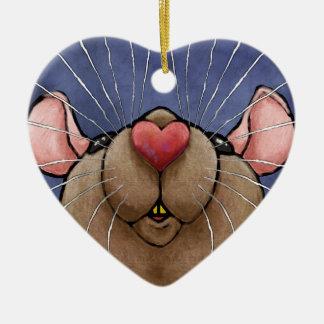 Niedliche Herz-Ratten-Verzierung Keramik Herz-Ornament