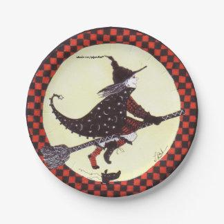 Niedliche Hexe auf Besen-Papierplatte Pappteller