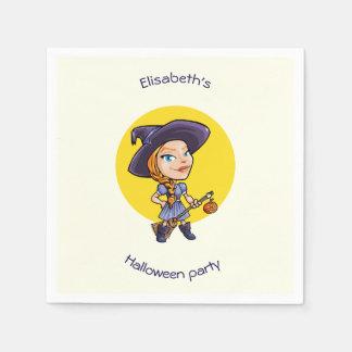 Niedliche Hexe mit Besenhalloween-Cartoon Papierservietten