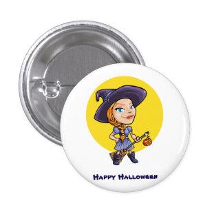 Niedliche Hexe mit Besenhalloween-Cartoon Runder Button 3,2 Cm