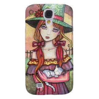 Niedliche Hexe und Katze Fanasy Kunst Galaxy S4 Hülle