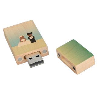 Niedliche Hochzeitspaare Holz USB Stick 2.0