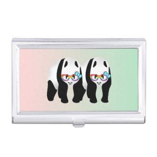 Niedliche homosexuelle Pandas, die Glassess tragen Visitenkarten Dose