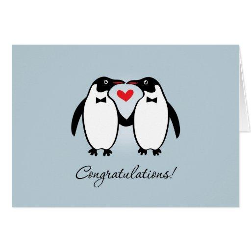 Niedliche homosexuelle Penguins, die Glückwünsche  Grußkarten
