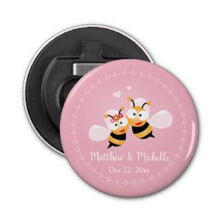 Niedliche Honig-Bienen-Paar-Rosa-Hochzeit danken Flaschenöffner