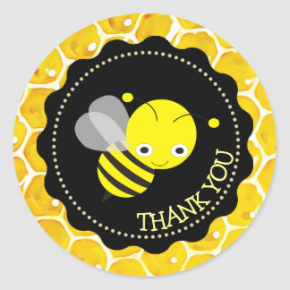 Niedliche Honigbienen-Bienenwabe danken Ihnen Runder Aufkleber