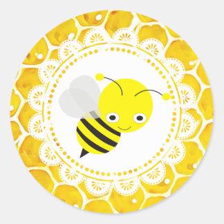 Niedliche Honigbienen-Bienenwaben-Aufkleber Runder Aufkleber