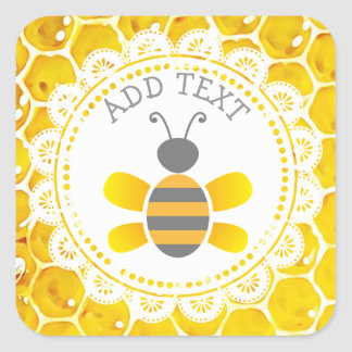 Niedliche Honigbienen-Bienenwaben-schwarze und Quadratischer Aufkleber