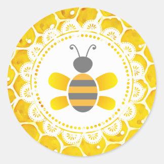 Niedliche Honigbienen-Bienenwaben-schwarze und Runder Aufkleber