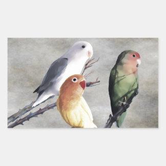Niedliche hübsche Lovebirds Rechteckiger Aufkleber