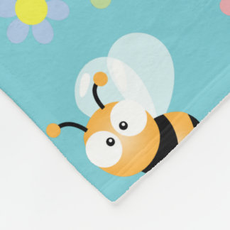 Niedliche Hummel-Biene und buntes Blumen-Muster Fleecedecke