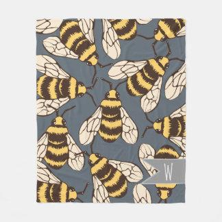 Niedliche Hummel-Bienen-Illustration - Fleecedecke
