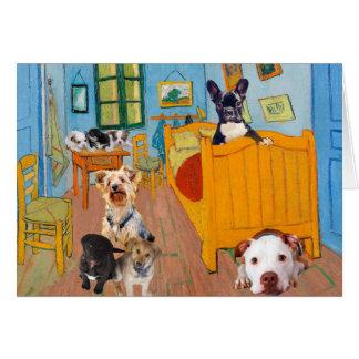 Niedliche Hunde in Van Gogh Schlafzimmer Grußkarte