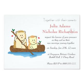 Niedliche Igels-Cartoon-Hochzeits-Einladung 12,7 X 17,8 Cm Einladungskarte