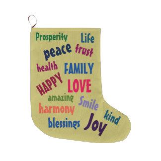 Niedliche Inspirational Wörter entwerfen buntes Großer Weihnachtsstrumpf