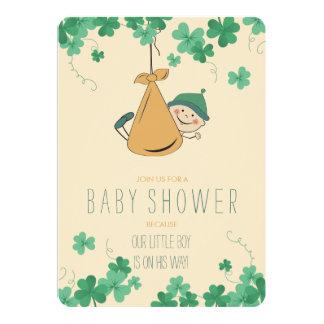Niedliche irische Themed Kleeblatt-Baby-Dusche Karte