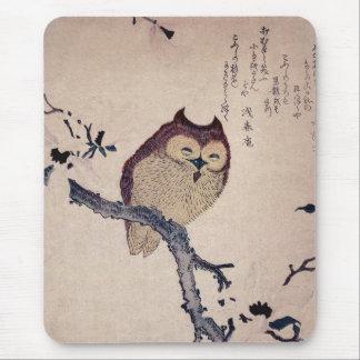 Niedliche japanische lächelnde Eule Mousepads
