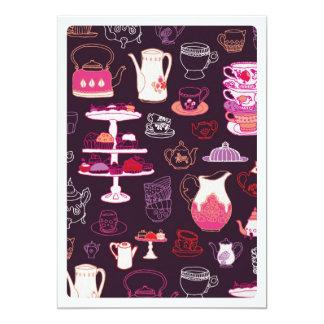 Niedliche Kaffeekuchen-Mustereinladung des hohen 12,7 X 17,8 Cm Einladungskarte
