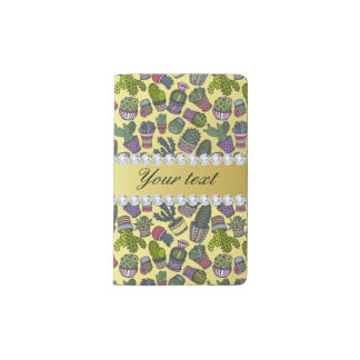 Niedliche Kaktus-Imitat-Goldfolie Bling Diamanten Moleskine Taschennotizbuch