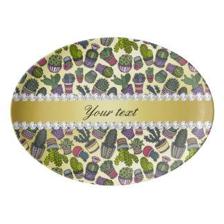 Niedliche Kaktus-Imitat-Goldfolie Bling Diamanten Porzellan Servierplatte
