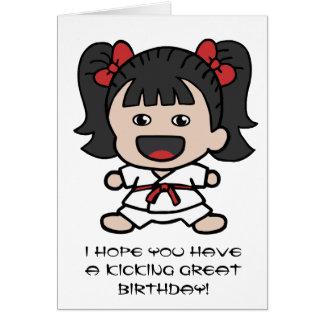 Niedliche Karate-Geburtstags-Karte für Mädchen Karte
