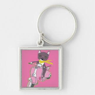 Niedliche Katze auf quadratischem Keychain Silberfarbener Quadratischer Schlüsselanhänger