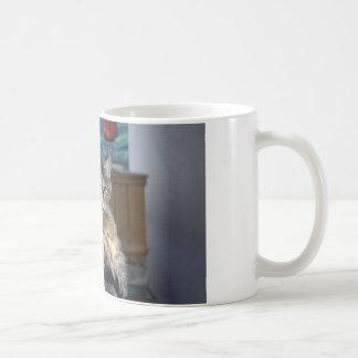 Niedliche Katze beim Pflegen unterbrochen Kaffeetasse