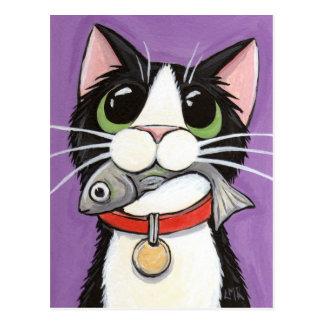 Niedliche Katze, die eine Fisch-Postkarte isst Postkarte