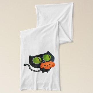 Niedliche Katze Halloweens mit Kürbis Schal