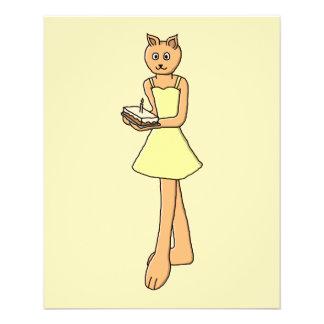 Niedliche Katze mit Geburtstags-Kuchen 11,4 X 14,2 Cm Flyer