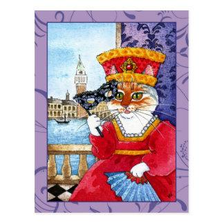 Niedliche Katze Venedig Karnevals- oder Postkarte