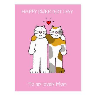 Niedliche Katzen der glücklichen süßesten Postkarte