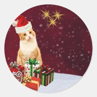 Niedliche Katzen-frohe Weihnacht-Grüße Runder Aufkleber