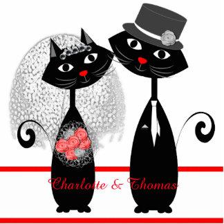 Niedliche Katzen-Hipster-Braut und Bräutigam Freistehende Fotoskulptur