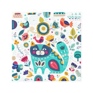 Niedliche Katzen-Illustrations-Hand gezeichnete Leinwanddruck