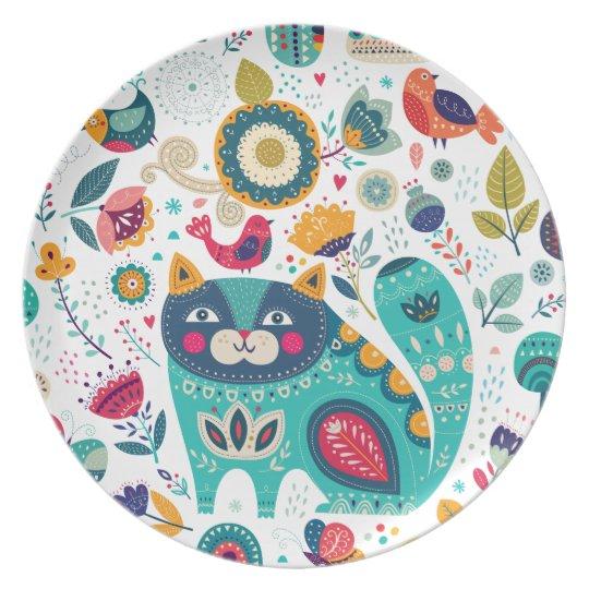 Niedliche Katzen-Illustrations-Hand gezeichnete Teller