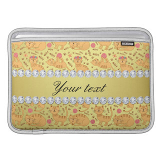 Niedliche Katzen-Imitat-Goldfolie Bling Diamanten MacBook Sleeve