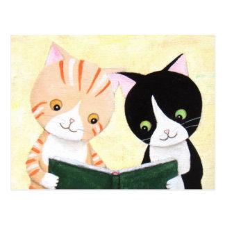 Niedliche Katzen-Lesebuch-Postkarte Postkarte