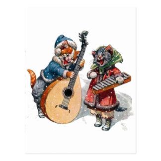 Niedliche Katzen-Spielmandoline und Xylophone im Postkarten