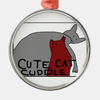Niedliche Katzen-Umarmung Rundes Silberfarbenes Ornament