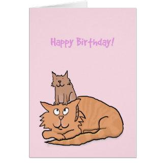 Niedliche Katzen-und Kätzchen-Geburtstags-Karte Karte