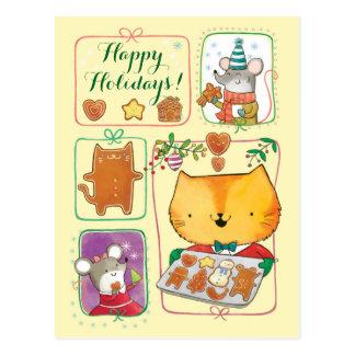 Niedliche Katzen-und Mäusefrohe Postkarte