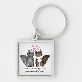 Niedliche Katzen - wahre Liebe Silberfarbener Quadratischer Schlüsselanhänger