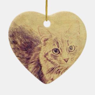 Niedliche Katzenliebhaberbleistiftskizze graue Keramik Herz-Ornament