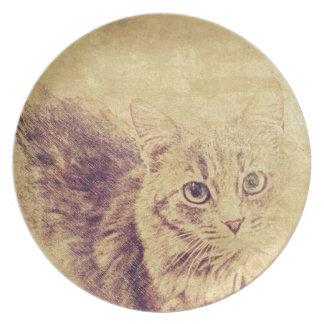 Niedliche Katzenliebhaberbleistiftskizze graue Teller
