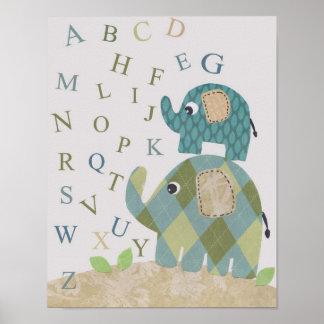 Niedliche Kinderzimmerwandkunst-Elefantalphabete Poster