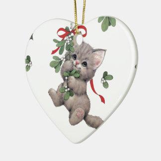 Niedliche Kitty-Herz-Verzierung Keramik Ornament