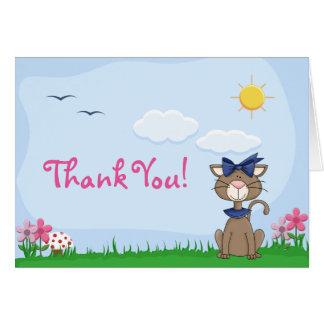 Niedliche Kitty-Katze danken Ihnen zu kardieren Karte