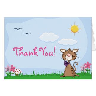 Niedliche Kitty-Katze danken Ihnen zu kardieren Mitteilungskarte